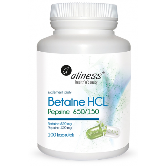 Aliness Betaine HCL, Pepsyna 650/150mg 100kaps
